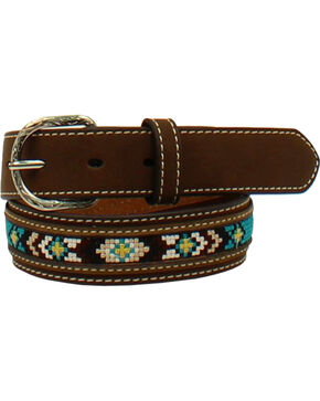 Nocona Boys' Aztec Embroidered Leather Belt, Brown, hi-res