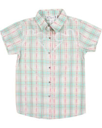 Shyanne Girl's Plaid and Floral Short Sleeve Western Shirt, , hi-res
