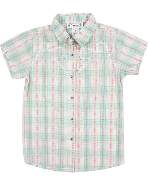 Shyanne Girl's Plaid and Floral Short Sleeve Western Shirt, Multi, hi-res