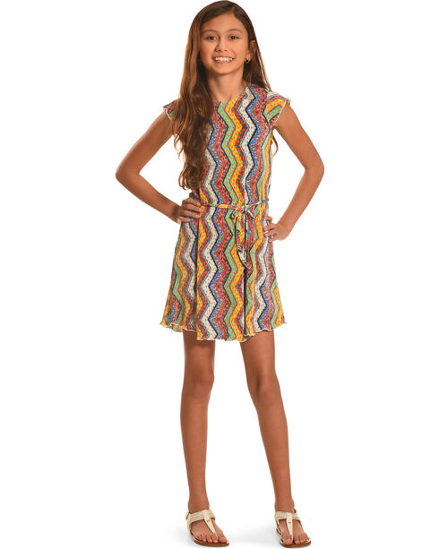 Derek Heart Girls' Flutter Sleeve Swing Dress, Multi, hi-res