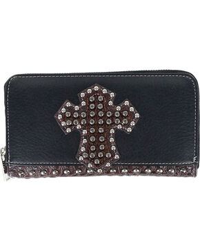 Savana Women's Studded Cross Overlay Wallet, Black, hi-res