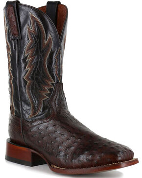 Dan Post Men's Ostrich Brown Square Toe Exotic Boots, Brown, hi-res