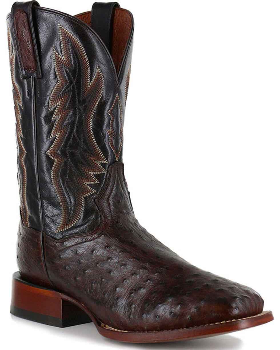 Dan Post Men's Ostrich Brown Square Toe Exotic Boots, , hi-res