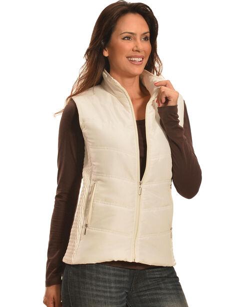 Jane Ashley Women's Stone White Quilted Princess Vest , Stone, hi-res