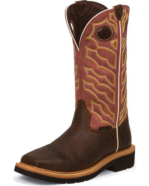 """Justin Men's 13"""" Steel Toe Work Boots, Chestnut, hi-res"""