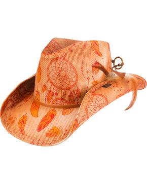 Shyanne®  Women's Dream Catcher Straw Hat, Orange, hi-res