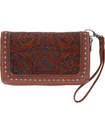 Trinity Ranch Women's Brown Tooled Design Wallet , , hi-res