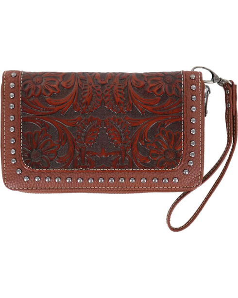 Trinity Ranch Women's Brown Tooled Design Wallet , Brown, hi-res