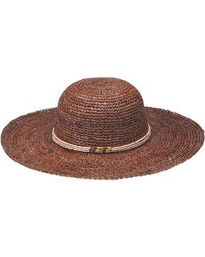 "Peter Grimm Beach Getaway 4 1/2"" Dark Brown Raffia Straw Sun Hat, Dark Brown, hi-res"
