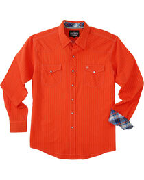 Garth Brooks Sevens by Cinch Men's Orange Hexagon Snaps Long Sleeve Shirt , , hi-res