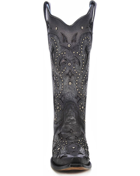 Corral Women's Studded Embossed Snip Toe Western Boots, Black, hi-res