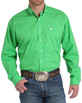 Cinch Men's Green Dollar Sign Print Long Sleeve Button Down Shirt, Green, hi-res