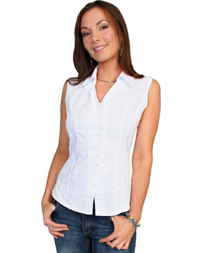 Scully Women's Peruvian Cotton Sleeveless Top, White, hi-res