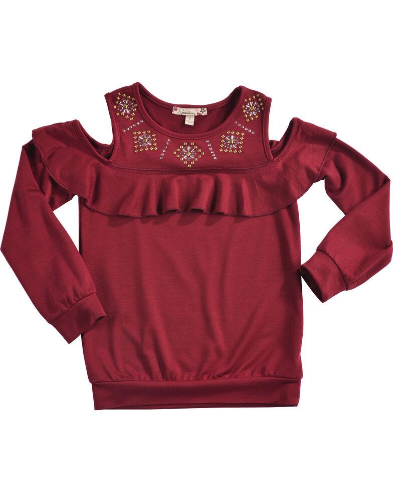 c715cf34840f0c Speechless Girls  Burgundy Cold Shoulder Top