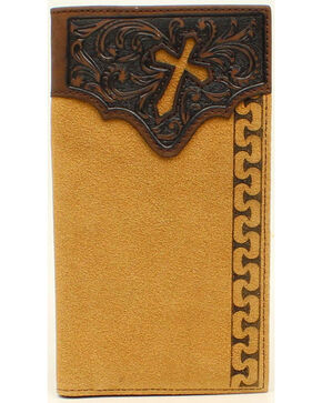 Ariat Men's Rodeo Stitch Cross Tabs Wallet, Natural, hi-res