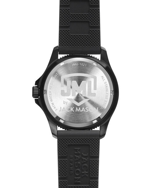 Jack Mason Men's Blackout Oklahoma Silicone Watch , Black, hi-res