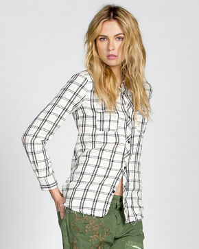 MM Vintage White Hidden Romance Plaid Shirt, White, hi-res