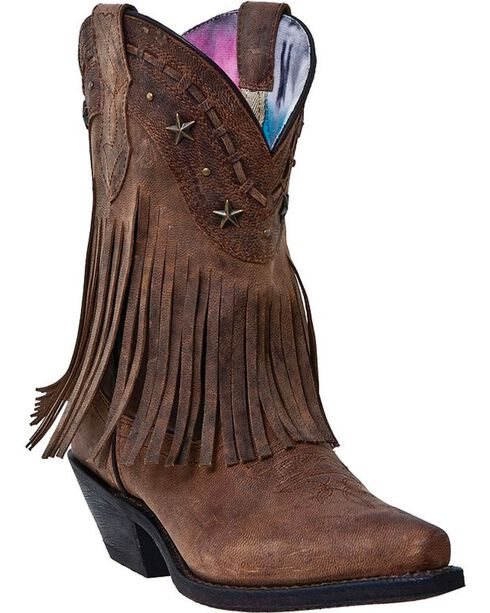 Dingo Women's Fringe Western Fashion Boots, Brown, hi-res