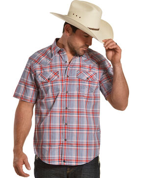 Cody James Men's Radar Plaid Short Sleeve Western Snap Shirt, Blue, hi-res