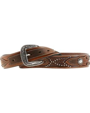 Ariat Sidewinder Basketweave Concho Belt, Tan, hi-res