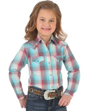 Wrangler Girls' Turquoise Western Plaid Top , Turquoise, hi-res