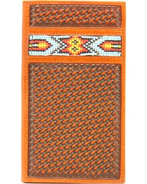 Nocona Aztec Beaded Basketweave Rodeo Wallet, Natural, hi-res