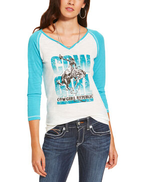 Ariat Women's Cowgirl Republic Long Sleeve Tee, White, hi-res