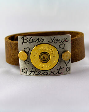 SouthLife Supply Bless Your Heart Plated Cuff with Traditional Gold Shotshell, Gold, hi-res