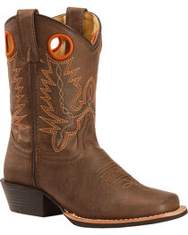 Swift Creek Youth Boys' Brown Pull Hole Cowboy Boots - Square Toe , , hi-res