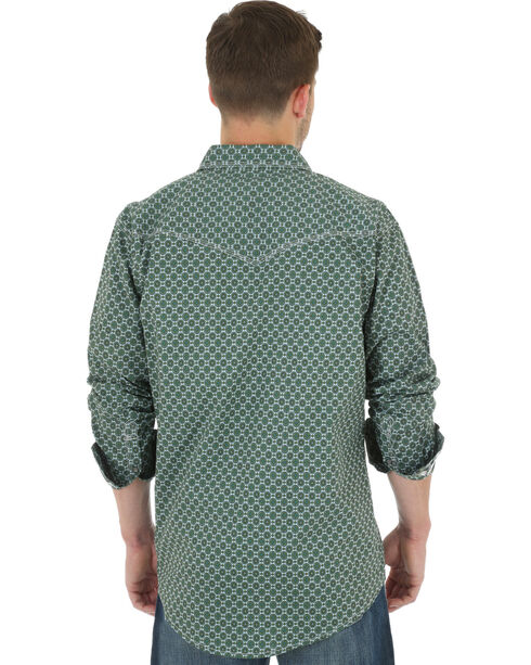 Wrangler 20X Men's Foulard Print Long Sleeve Shirt, Olive, hi-res