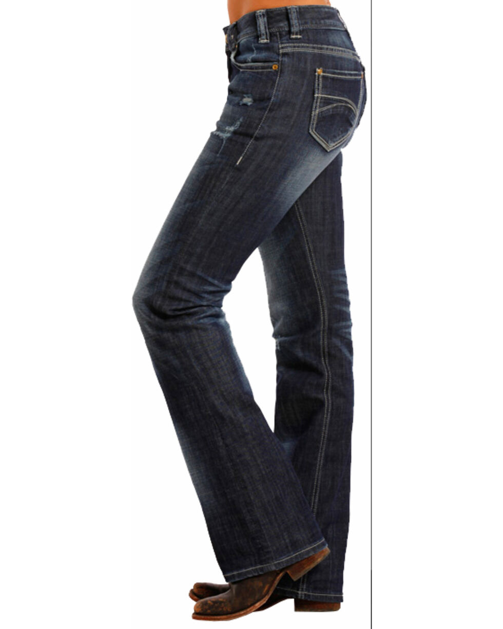 Rock & Roll Cowgirl Women's' Dark Vintage Mid Rise Boot Cut Jeans, , hi-res