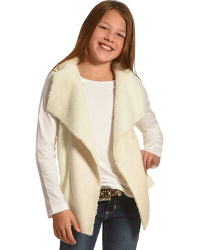 Derek Heart Girls' Cream Sherpa Collar Sweater Vest , Cream, hi-res