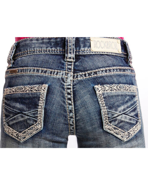 Rock & Roll Cowgirl Girls' Tribal Embroidered Boot Cut Jeans, Dark Blue, hi-res