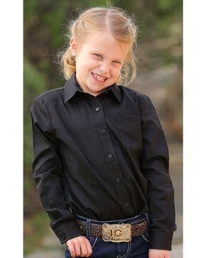 Cruel Girl Girls' Black Long Sleeve Button Up Top, Black, hi-res