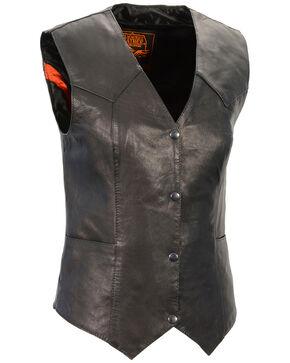 Milwaukee Leather Women's Lightweight Classic Four Snap Vest, Black, hi-res