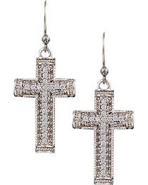 Montana Silversmiths Sparkling Faith Cross Earrings, , hi-res