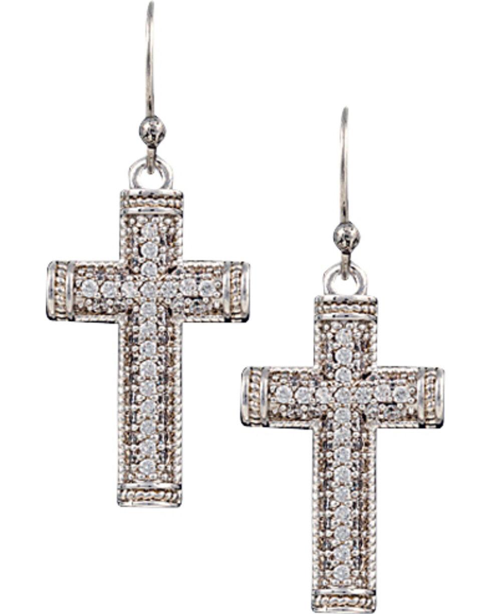Montana Silversmiths Sparkling Faith Cross Earrings, Silver, hi-res