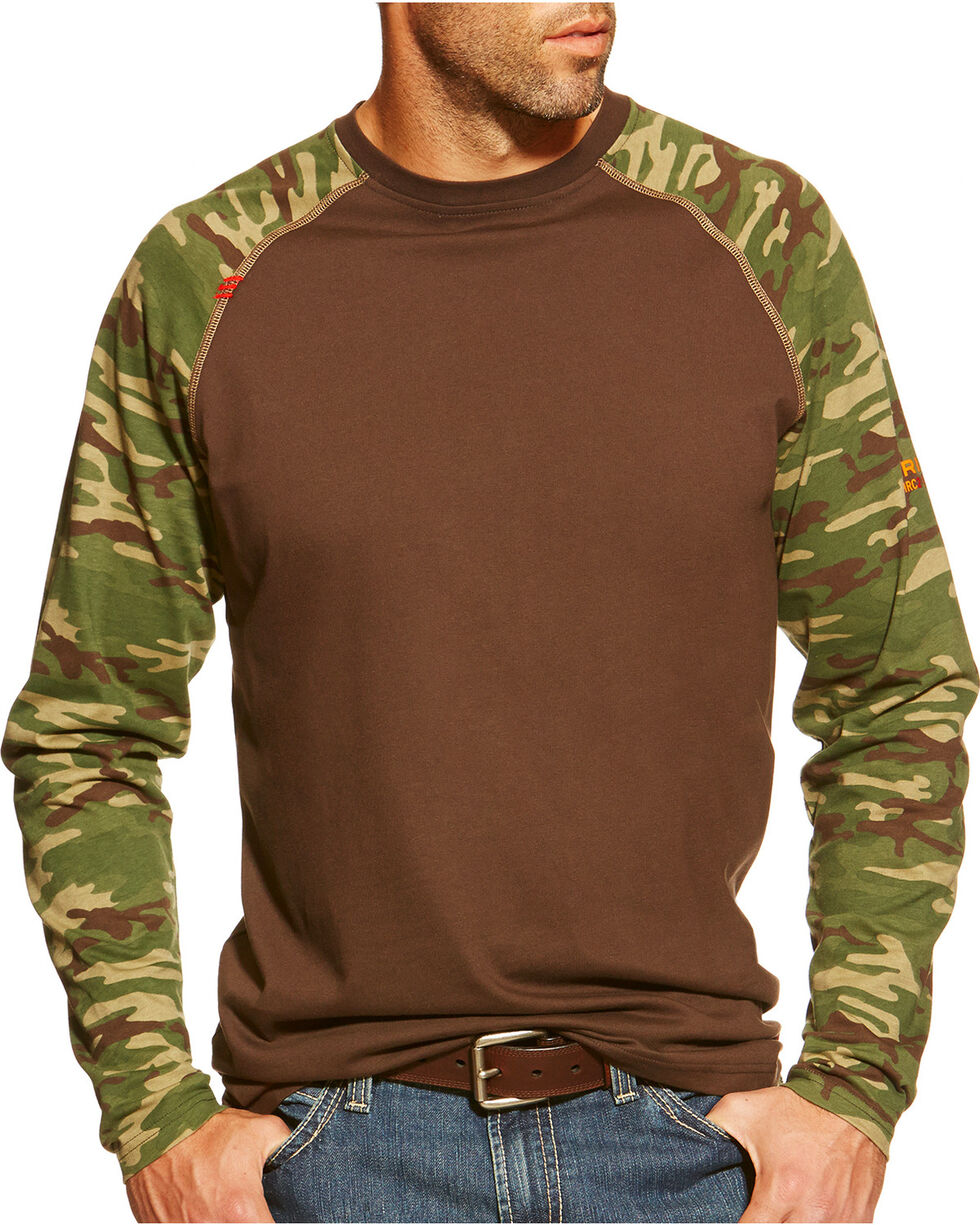 Ariat Men's Flame Resistant Camo Long Sleeve Shirt, Brown, hi-res