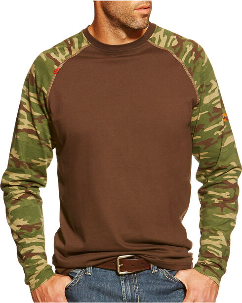Ariat Men's Flame Resistant Camo Long Sleeve Shirt - Big & Tall , Brown, hi-res