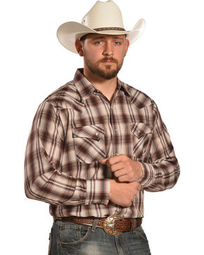 Ely Men's Tan and Brown Plaid Western Shirt , Brown, hi-res