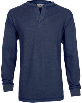 American Worker® Men's Long Sleeve Ribbed Henley, Navy, hi-res
