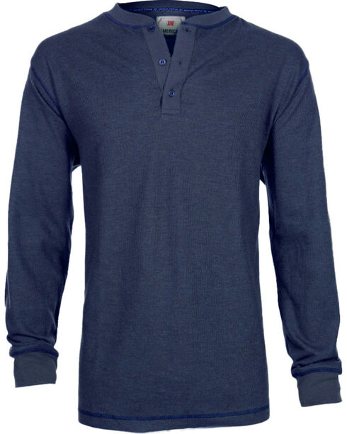 American Worker® Men's Long Sleeve Ribbed Henley, , hi-res