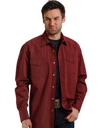 Roper Men's Amarillo Collection Maroon Snap Long Sleeve Shirt, , hi-res