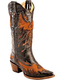 Corral Women's Eagle Inlay and Crystal Snip Toe Boots, , hi-res
