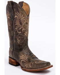 Circle G Women's Distressed Filigree Square Toe Western Boots, , hi-res