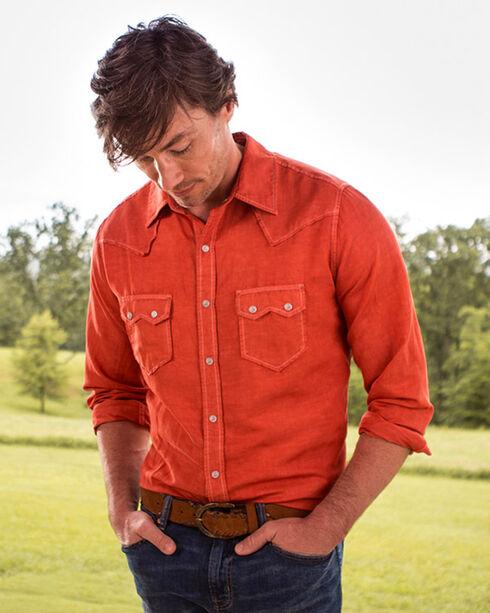Ryan Michael Men's Campfire Silk Long Sleeve Snap Western Shirt, Red, hi-res