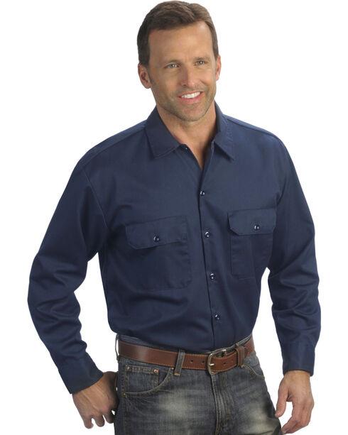 Dickies Men's Navy Long Sleeve Work Shirt - Big , Navy, hi-res
