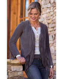 Ryan Michael Women's Grey Fringe Sleeve Suede Jacket , , hi-res