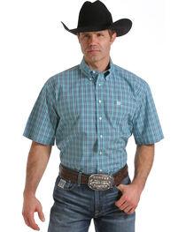 Cinch Men's Light Blue One Pocket Plaid Shirt, , hi-res