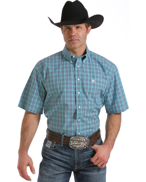 Cinch Men's Light Blue One Pocket Plaid Shirt, Light Blue, hi-res